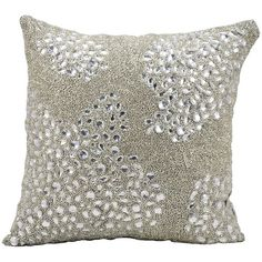 Mina Victory Luminescence Square Beaded Throw Pillow ($108) ❤ liked on Polyvore featuring home, home decor, throw pillows, silver, square throw pillows, beaded throw pillows, beaded accent pillows and patterned throw pillows
