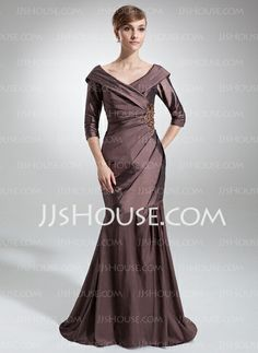 Mother of the Bride Dresses - $148.99 - Mermaid Off-the-Shoulder Sweep Train Taffeta Mother of the Bride Dress With Ruffle Lace Beading (008006470) http://jjshouse.com/Mermaid-Off-The-Shoulder-Sweep-Train-Taffeta-Mother-Of-The-Bride-Dress-With-Ruffle-Lace-Beading-008006470-g6470