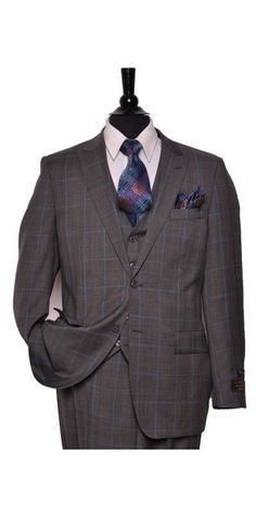 Tiglio Lux Men's Suit Taupe / Blue Plaid - MADE IN ITALY