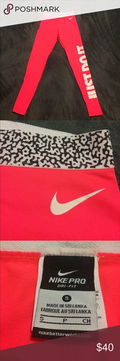 Nike Pro Dri-Fit Hot Coral Pink Leggings These leggings are gently worn and super cute! They look so amazing on and the color is so cute. They are a bright pink, almost coral color. The lettering on the side tops off these size small comfortable leggings. Nike Pants Track Pants & Joggers