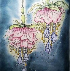 @nossa_vida_colorida Fuschia from the Summer Nights colouring book (Hanna Karlzon).