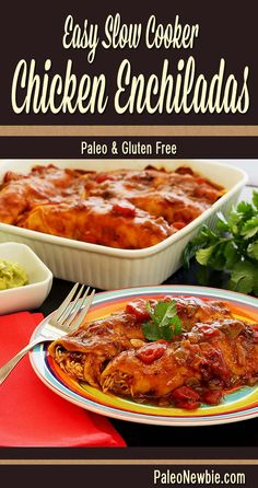 Slow-cooked chicken in an easy enchilada sauce wrapped in our tortillas and covered with more sauce…so good! #paleo #glutenfree