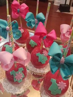 Pink candy apples @one_skinny_baker