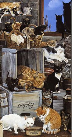 Cats in Art Illustration Photography Decorative Arts Textiles Needlework and Design: Pollyanna Pickering I Love Cats, Crazy Cats, Cool Cats, Lots Of Cats, Alley Cat, Vintage Cat, Cat Drawing, Beautiful Cats, Cat Art