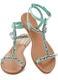 Cute Sandals for Spring These cute sandals with sparkling crystals and gorgeous mint straps are awfully cute for spring.