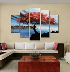 """Modern Hand-Painted """"Tenacious red tree"""" 5-Piece Gallery-Wrapped Flower Oil Painting On Canvas Artland http://www.amazon.com/dp/B00ZZJ3N78/ref=cm_sw_r_pi_dp_YJgPvb1VV2NGG"""