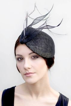 Couture Black Hat Cocktail Fascinator with por MaggieMowbrayHats