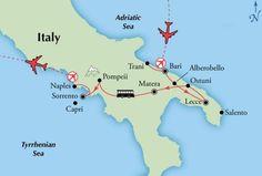 southern italy tour map bari lecce matera sorrento