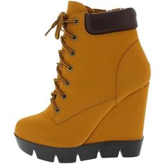 INVENT08 HONEY WHEAT LACE UP WEDGE HIKING BOOT ($17) ❤ liked on Polyvore featuring shoes, boots, flats boots, laced up boots, wedge boots, wedges shoes and wedge heel boots