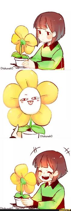 Chara Dreemurr and Flowey the Flower Undertale Flowey, Undertale Memes, Undertale Ships, Undertale Fanart, Undertale Comic, Chara, Fan Art, Flowey The Flower, Toby Fox