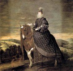 Une autre reine représentée à cheval montée en amazone , toujours par Velasquez, Margarita de Austria, épouse du roi Felipe III