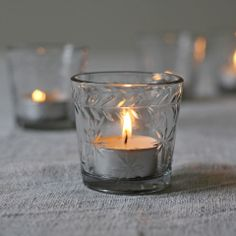 Glass Tea Light Holders with Etched  Star Design - Set Of 3 #theweddingofmydreams