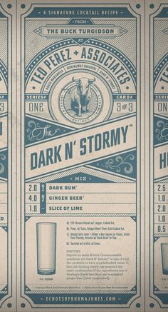 Dark and stormy cocktail recipe card.