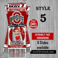 THE Ohio State University Buckeyes College Themed Birthday Picture Invitations, Baby Shower Invitations, Baseball Birthday Invitations, Ticket Invitation, Conceptual Design, Ohio State Buckeyes, Birthday Photos, Kid Names, First Birthday Parties