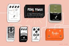 Illustration showing how musician Angel Olsen's pedalboard is set up for live shows. Angel Olsen, Coffee Works, Music Illustration, Technology Humor, Design Research, Guitar Pedals, Cool Guitar, Design Quotes, Ocd