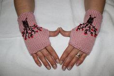 Hand Knitted Fingerless Gloves Female pink gloves by PinarKnitting