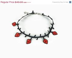 Mothers Day Sale Red and Black Crocheted Leaves Choker by Nakkashe