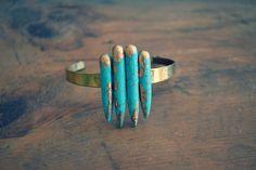Arrows Turquoise Bracelet Stone Bracelet Spike by francisfrank, $25.00