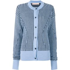 Marni houndstooth patterned cardigan (40.020 RUB) ❤ liked on Polyvore featuring tops, cardigans, blue, patterned cardigans, ribbed long sleeve top, long sleeve cardigan, rib top and print cardigan