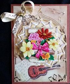 carte scrap , 3d le suh fleur en musique, fond lac de AuxPetitsArtistes sur DaWanda.com