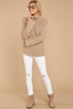 Women's Sweaters - Stylish Sweaters - Shop at Red Dress Boutique Latest Outfits, Mode Outfits, Casual Outfits, Fashion Outfits, Turtleneck Outfit, Sweater Outfits, Big Sweater, Dress Clothes For Women, Trendy Clothes For Women