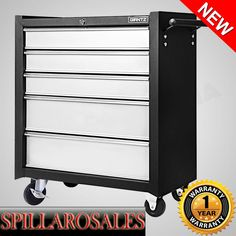 5 Drawers Roller Toolbox Cabinet  Black Grey Tool Box Chest on Castors