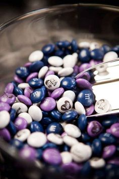 Get your wedding date, special messages, wedding colors, or even your face printed on custom M&Ms. They make excellent favors and can be displayed at a dessert bar too!