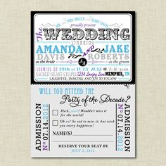 Cute Invitation Idea: The Amanda Modern Movie Poster Wedding by ClassicChicDesigns, $25.00