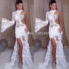Elegant New Arrival High Neck Lace White Prom Dresses 2015 Formal Evening Party Gowns Long Custom made Beaded Rhinestones