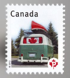 How great is this, a Canadian stamp with a VW bus and a canoe on top! Quebec, Combi Wv, Vancouver, All About Canada, Canada Eh, Canada Post, I Am Canadian, Postage Stamp Art, Love Stamps