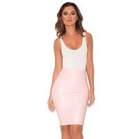 'Sofia' Baby Pink Latex Pencil Skirt