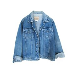 90's Distressed Denim jacket (€28) ❤ liked on Polyvore featuring outerwear, jackets, tops, coats, distressed denim jacket, pocket jacket, vintage jacket and blue jackets