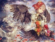 #anime #wings #flowers