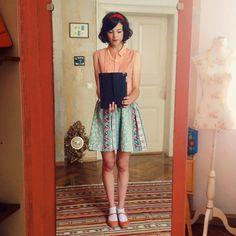 Pepaloves blouse and self made skirt.