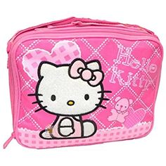 BRAND NEW LICENSED HELLO KITTY INSULATED LUNCH BAG BY SANRIO BLACK /& PINK TRIM