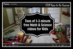 Kleinspiration: TONS of (free) minute Engaging Math & Science Videos for Kids via Mager Mager Vanden Heuvel! Thanks, Cindy Teske. Kindergarten Science, Science Classroom, Science Education, Teaching Science, Teaching Ideas, Classroom Ideas, Preschool, Science Videos For Kids, Science Lessons