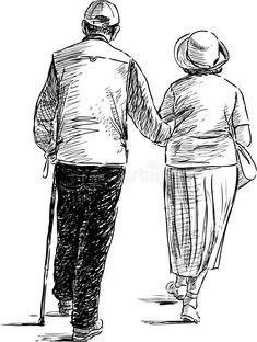 Couple Sketch, Couple Drawings, Couple Art, Art Drawings Sketches, Human Figure Sketches, Human Figure Drawing, Figure Sketching, Elderly Couples, Old Couples