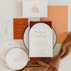 Beautiful wedding invites in a fall colour palette, with coordinating round dinner menus. Romantic Wedding Stationery, Beautiful Wedding Invitations, Custom Wedding Invitations, Wedding Stationary, Elegant Wedding, Invites, Fall Wedding, Wedding Table Settings, Wedding Reception Decorations