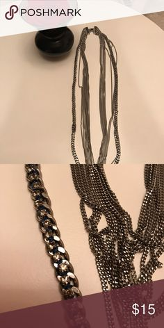 """Long heavy Ann Taylor necklace Long heavy multiple chains Ann Taylor necklace with rhinestones and blue accent, 40"""" long, 11 chains. Great for layering. Ann Taylor Jewelry Necklaces"""