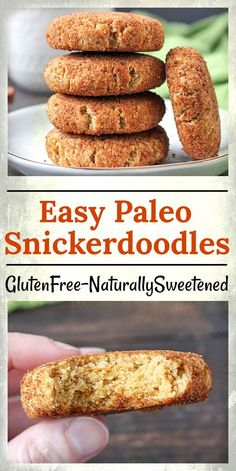 These Easy Paleo Snickerdoodles are soft, thick, and chewy. No one will be able to tell they are gluten free, naturally sweetened and have an option of dairy free. These cookies are so good! Even though they are thick, they are not cakey at all. The outside has a slight cinnamon-y crunch and