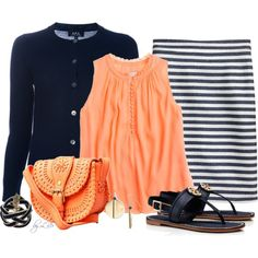 Casual Striped Pencil Skirt, created by fantasy-closet on Polyvore