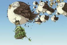 the_birds by Jonatan Cantero - Miyazaki inspired Art And Illustration, Animal Illustrations, Creative Illustration, Hayao Miyazaki, Montage Photo, Cute Creatures, Community Art, Bird Art, Oeuvre D'art