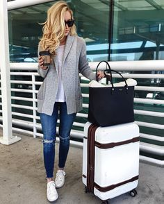 comfy travel style   grey cardigan with white tee and distressed denim