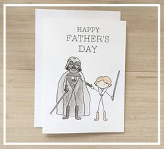 Starwars Fathers Day Card // darth vader card by kenziecardco