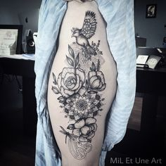 Nature and mandala thigh tattoo
