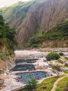 Hot springs nestled in the Andes near Santa Teresa, Peru. You can go in them during the Salkantay trek to Machu Picchu.