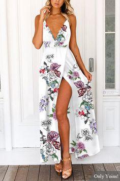 V-neck Random Floral Print Open Back Splited Hem Dress in White
