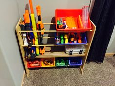 Creative Toy Storage Idea The Effective Pictures We Offer You About Nerf Gun Storage command hooks A Creative Toy Storage, Diy Toy Storage, Kids Storage, Storage Ideas, Cube Storage, Closet Storage, Shelf Ideas, Nerf Gun Storage, Regal Bad