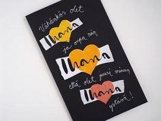 Ihana-jogurtin kansista leikatut tekstit ja sydämet sopivat hauskasti ystävänpäiväkorttiin. Valentines Day, Card Making, How To Make, Diy, Valentine's Day Diy, Bricolage, Valentines, Handyman Projects, Do It Yourself