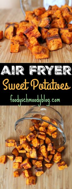 Air Fryer Sweet Potatoes - So many ways to use these easy sweet potatoes. I serve along side a protein at dinner (chicken, pork, steak), toss in salads, toss in egg dishes for a satisfying breakfast or I might be known to just snack on them straight from the air fryer! #airfryer #sweetpotato #sidedish Twice Baked Sweet Potatoes, Cubed Sweet Potatoes, Roasted Sweet Potatoes, Healthy Potatoes, Chicken Potatoes, Air Fryer Recipes Breakfast, Air Fryer Recipes Easy, Air Fryer Recipes Gluten Free, Air Fryer French Fries